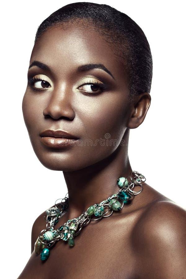 Schoonheidsportret van knap etnisch Afrikaans die meisje, op whi wordt geïsoleerd royalty-vrije stock foto's