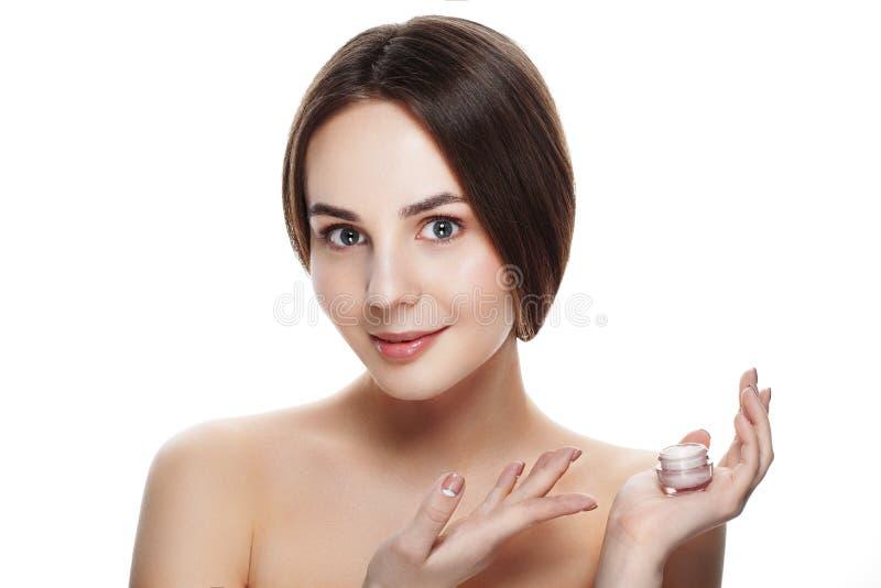 Schoonheidsportret van mooi meisje met het natuurlijke gezicht van de make-upgreep cre stock foto's