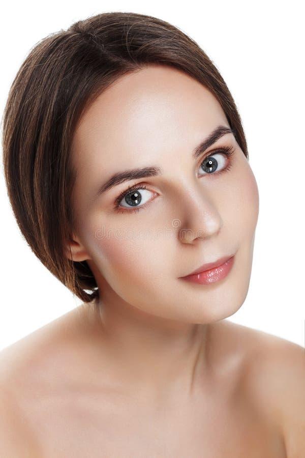 Schoonheidsportret van mooi meisje met natuurlijke make-up Mooi SP stock afbeelding