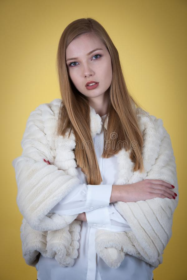 Download Schoonheidsportret Van Vrouw In Het Jasje Van De Bontwinter Over Gele Backgr Stock Foto - Afbeelding bestaande uit manier, kleding: 107708992