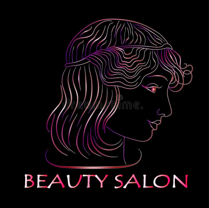 Schoonheidssalon, het profiel van het Neonmeisje op zwarte achtergrond illustraties vector illustratie