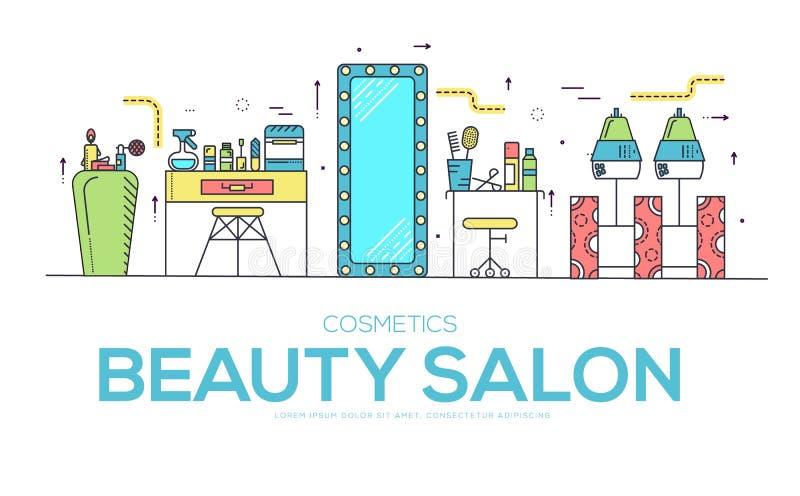 Schoonheidssalon met assortiment van de kosmetiek en schoonheidsontwerp Vlak materiaal in de vectorillustratie van de schoonheids royalty-vrije illustratie