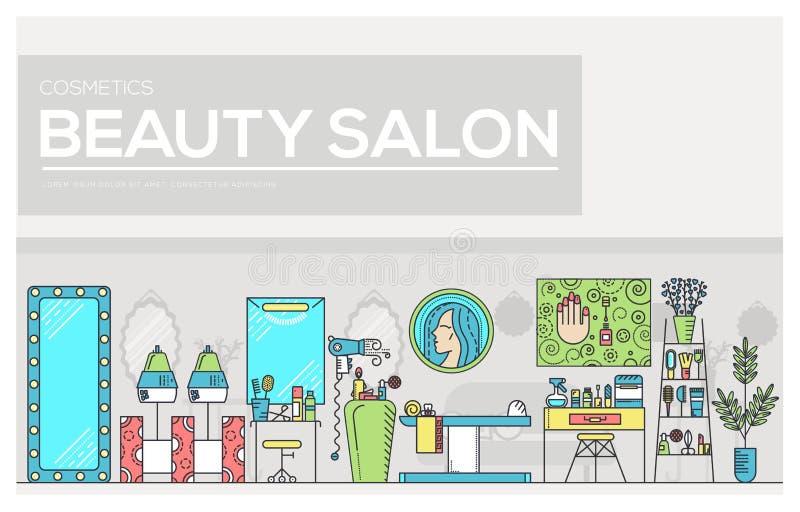 Schoonheidssalon met assortiment van de kosmetiek en schoonheidsontwerp Vlak materiaal in de vectorillustratie van de schoonheids vector illustratie