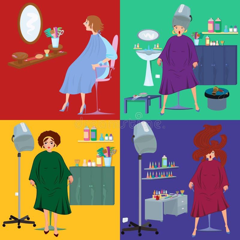 Schoonheidssalon spa klanten in robes vlakke mensen royalty-vrije illustratie