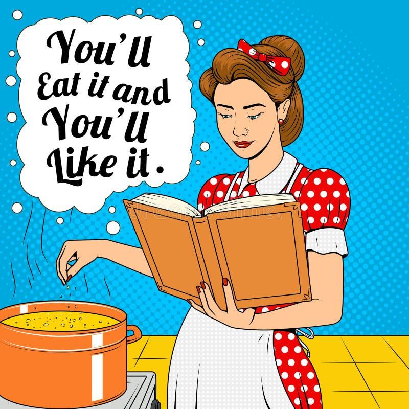 Schoonheidsvrouw het koken soep retro vector stock illustratie