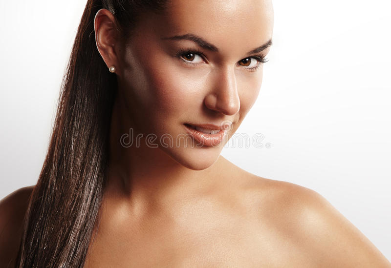 Schoonheidsvrouw met een pnytail stock fotografie