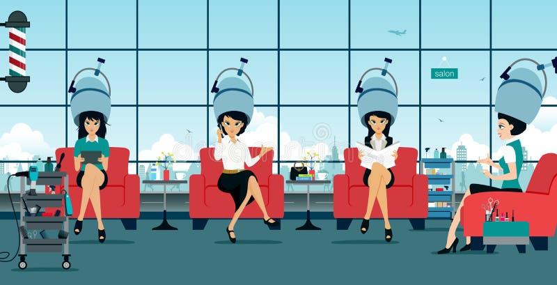 Schoonheidsvrouw met Lang Gezond en Glanzend Vlot Zwart Haar royalty-vrije illustratie