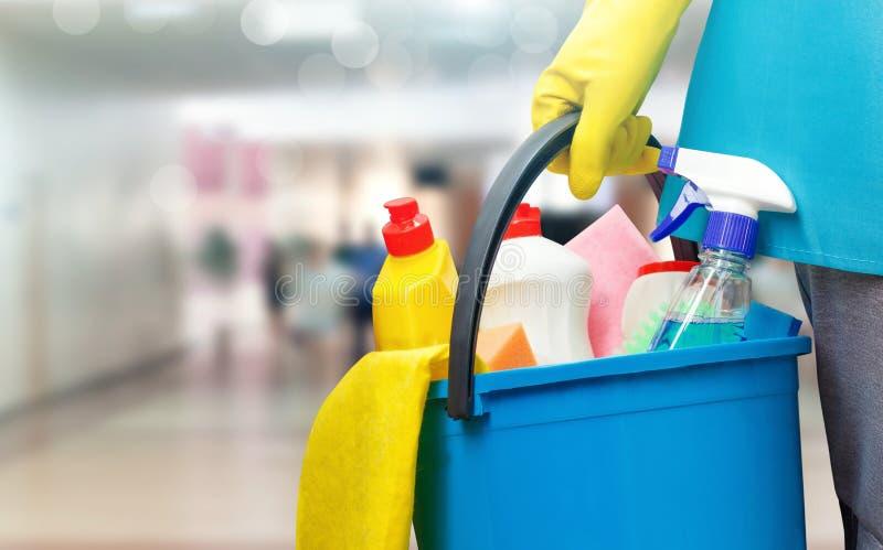 Schoonmaakster met een emmer en schoonmakende producten royalty-vrije stock fotografie