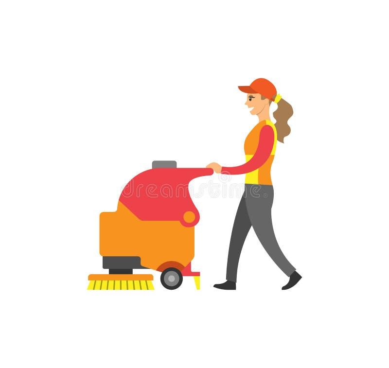 Schoonmaakster Woman Service bij Supermarktvector vector illustratie