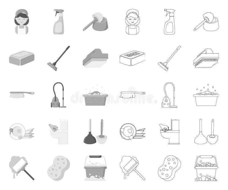 Schoonmaken en meisje mono, overzichtspictogrammen in vastgestelde inzameling voor ontwerp Materiaal voor het schoonmaken het vec royalty-vrije illustratie