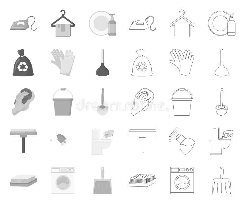 Schoonmaken en meisje mono, overzichtspictogrammen in vastgestelde inzameling voor ontwerp Materiaal voor het schoonmaken het vec vector illustratie