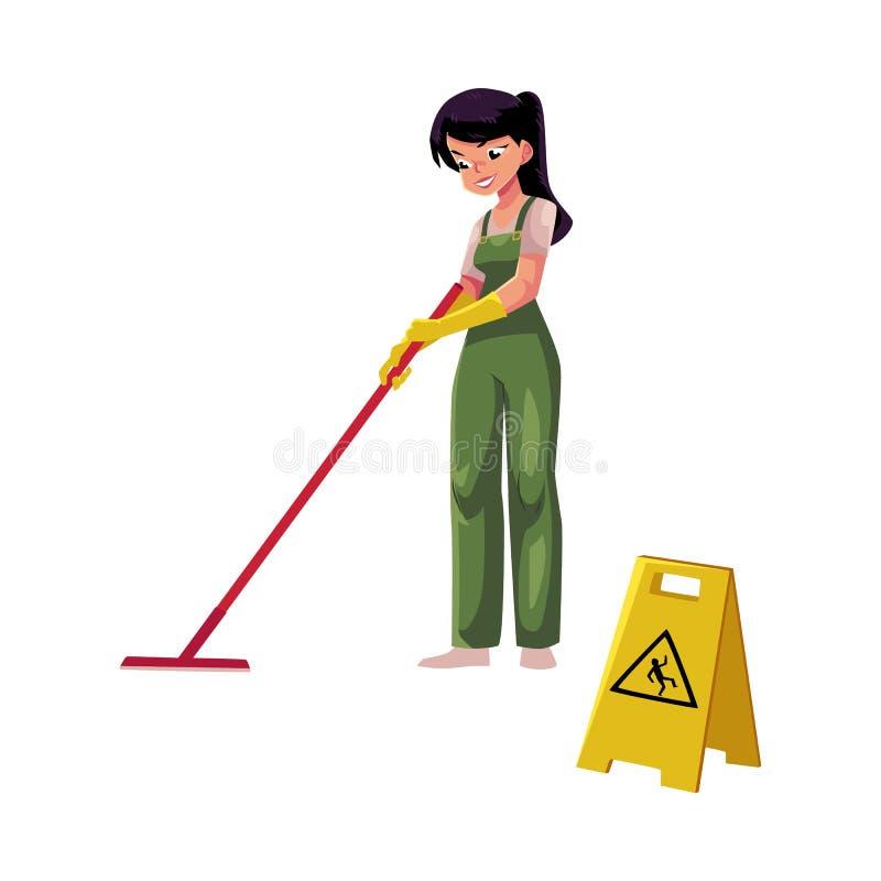 Schoonmakend de dienstmeisje, werkster die, reinigingsmachine in overall zwabber, emmer houden royalty-vrije illustratie