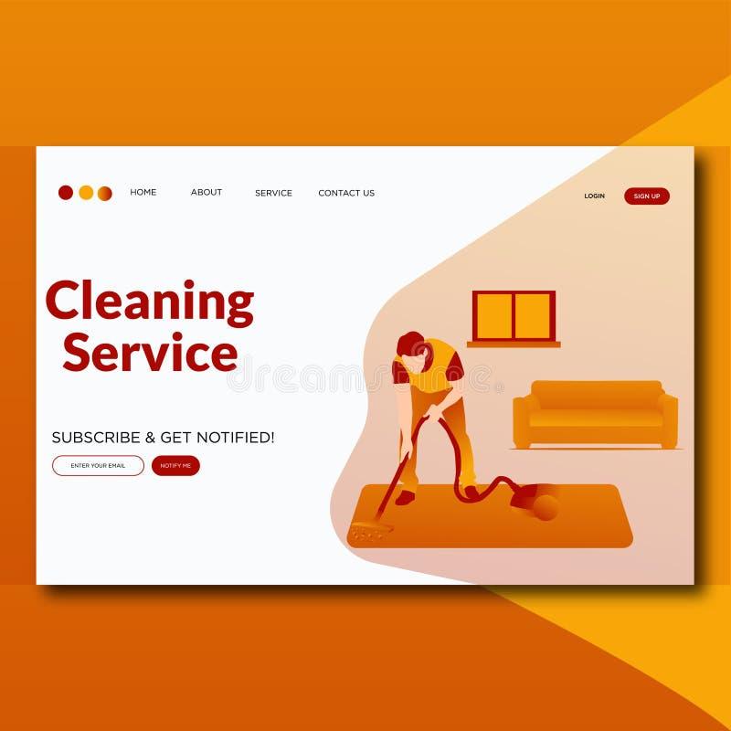 Schoonmakend de illustratielandingspagina van de de Dienst Vlak modern stijl vector illustratie