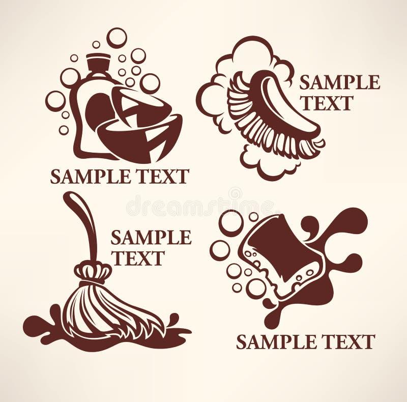 Schoonmakend embleem vector illustratie