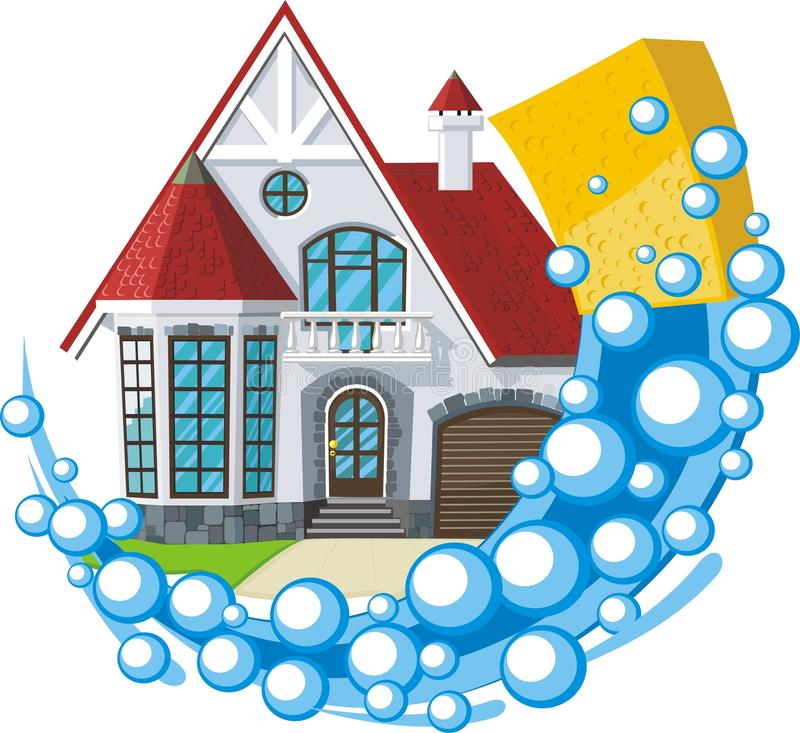 Schoonmakend huis vector illustratie