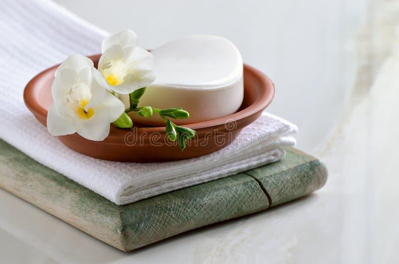 Schoonmakende Aromatische vloeistof-Gelen en Witte Handdoeken royalty-vrije stock foto
