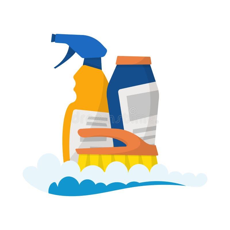 Schoonmakende de dienstlevering, detergent containers en flessen Vec stock illustratie