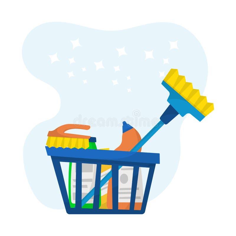Schoonmakende de dienstlevering, detergent containers en flessen Vec vector illustratie
