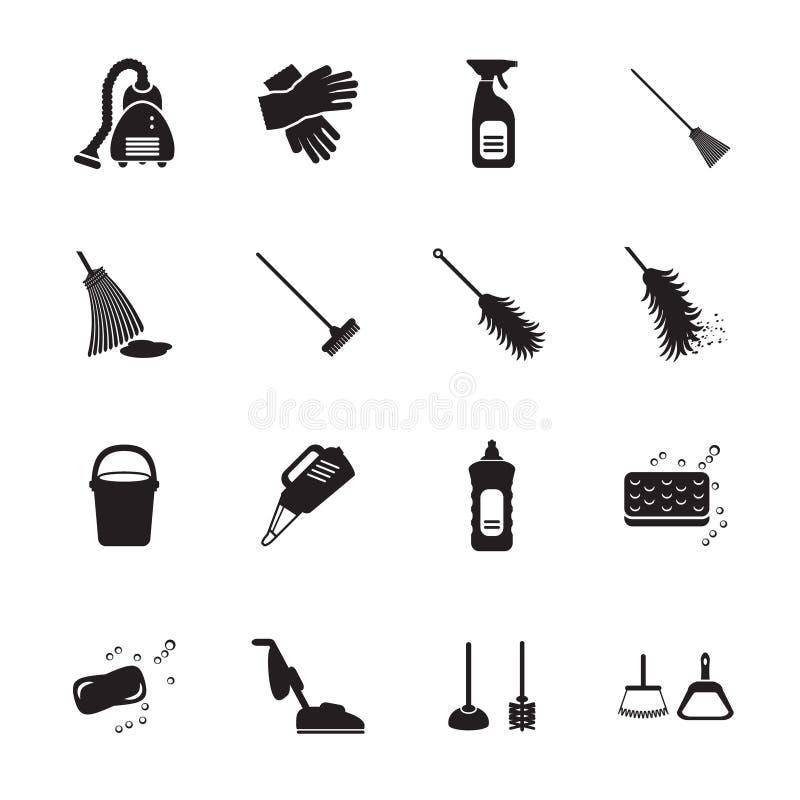 schoonmakende geplaatste pictogrammen vector illustratie