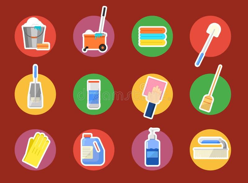 schoonmakende geplaatste pictogrammen stock illustratie