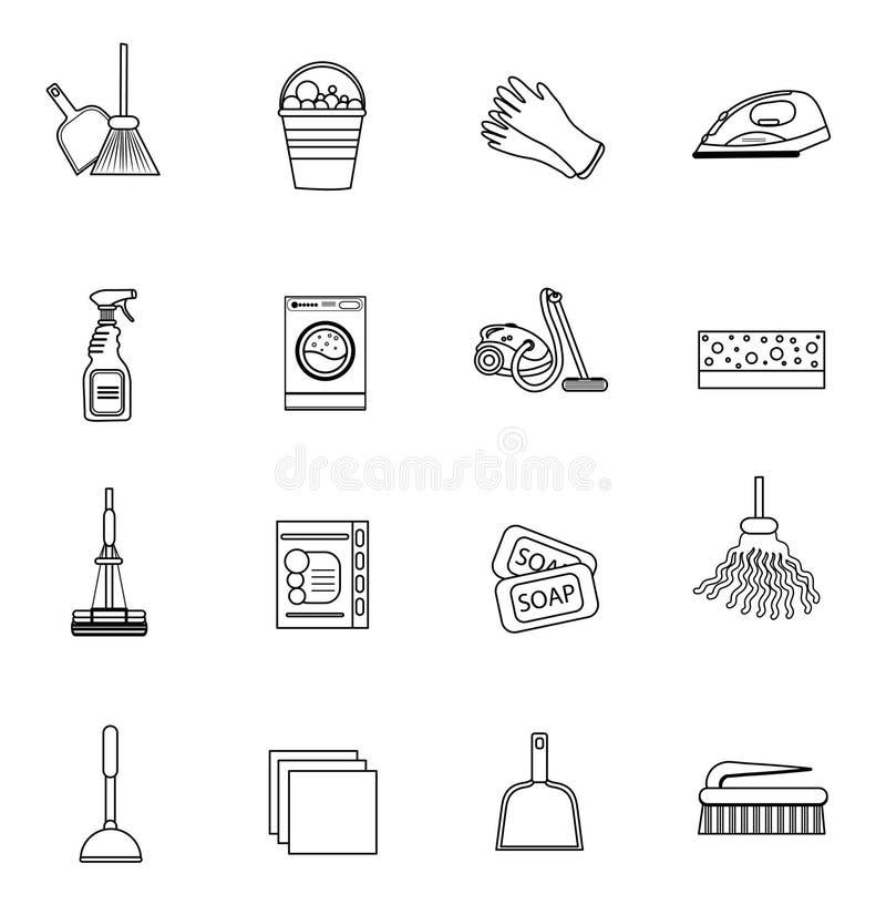 Schoonmakende geplaatste pictogrammen, moderne lijn, schets, krabbelstijl Op witte achtergrond Vector illustratie stock illustratie