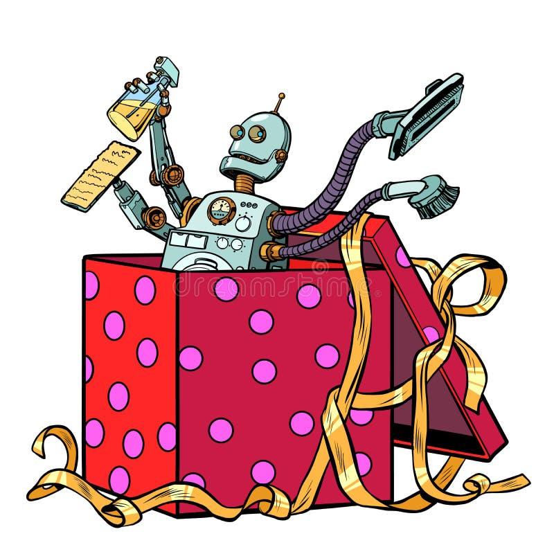 Schoonmakende het bedrijf stofzuiger van de robotgift royalty-vrije illustratie