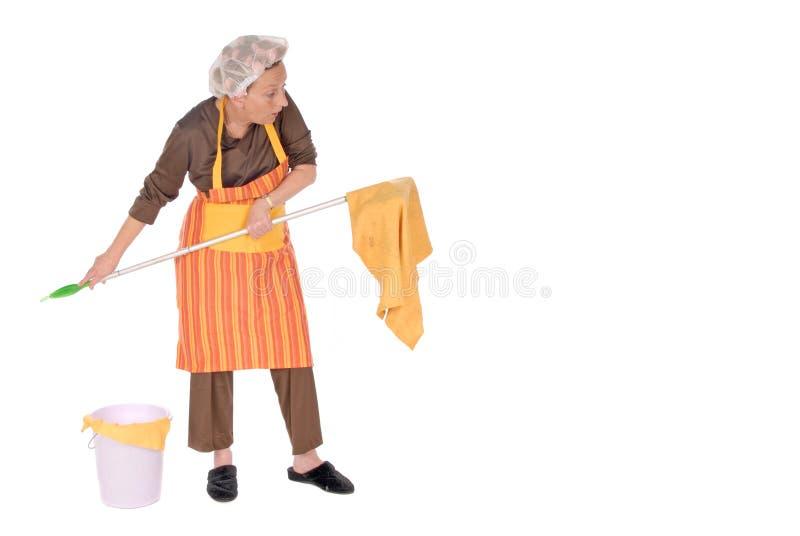 Schoonmakende huisvrouw stock fotografie