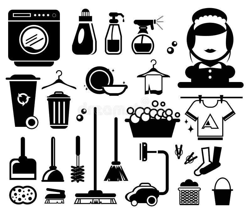 Schoonmakende pictogrammen stock illustratie