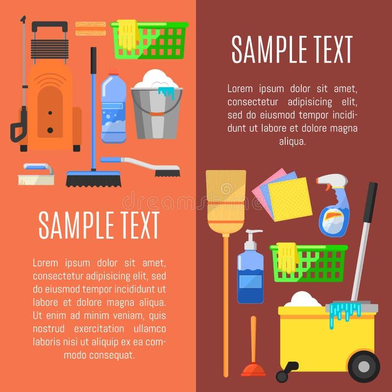 Schoonmakende pictogrammen op banner vectorillustratie vector illustratie
