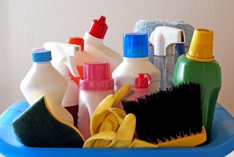 Schoonmakende producten stock afbeelding