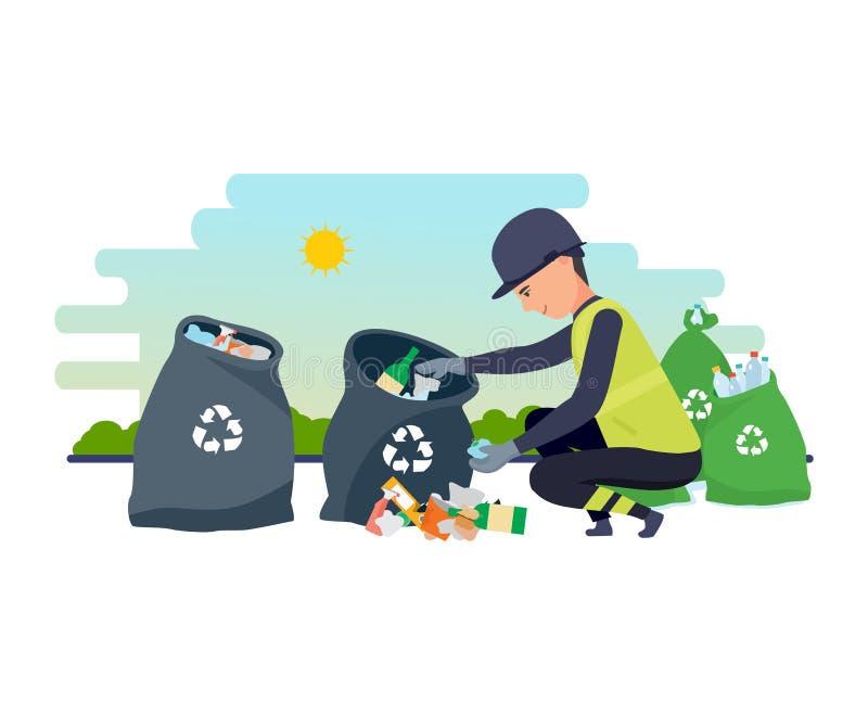 Schoonmakende stad Huishoudelijk afval, recycling De werknemer van de dienst verzamelt huisvuil stock illustratie