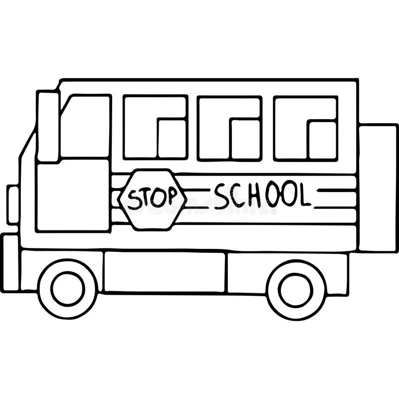 Schoool bus geometrical figures coloring page royalty free illustration