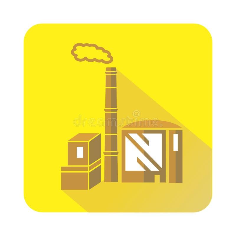 Schoorsteen en de bouw van chemisch installatiepictogram stock illustratie