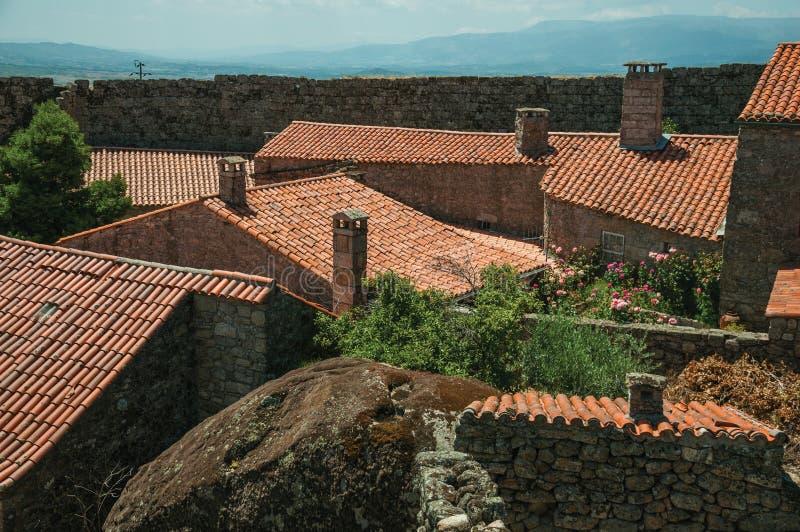 Schoorstenen op daken van oude huizen met gebloeide struik stock afbeelding
