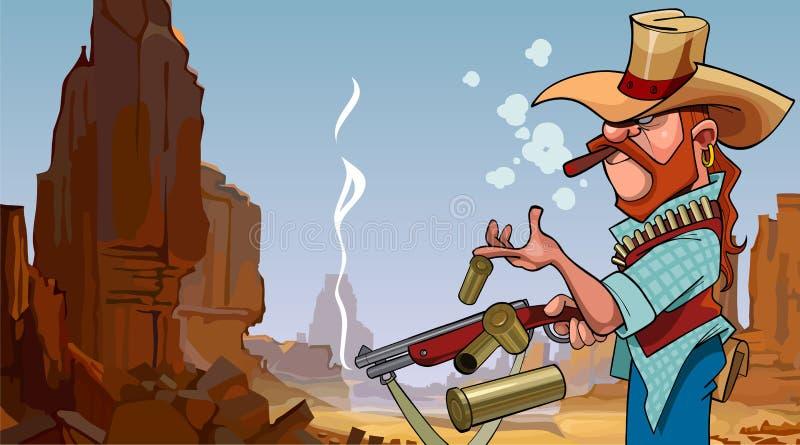 Schoot de beeldverhaal fronsende mens in een hoed van een kanon in een steencanion royalty-vrije illustratie