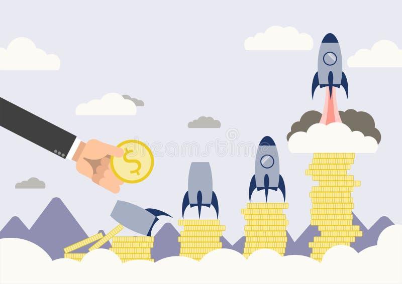 Schop start bedrijfsconcept, vlak ontwerp royalty-vrije stock afbeelding