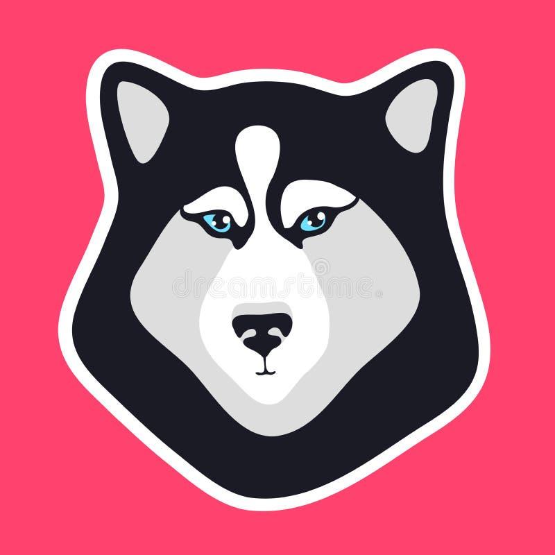 Schor hondsticker Zwart-wit hond fase embleem Embleem voor flard Teken of pictogram voor mobiele apps r vector illustratie