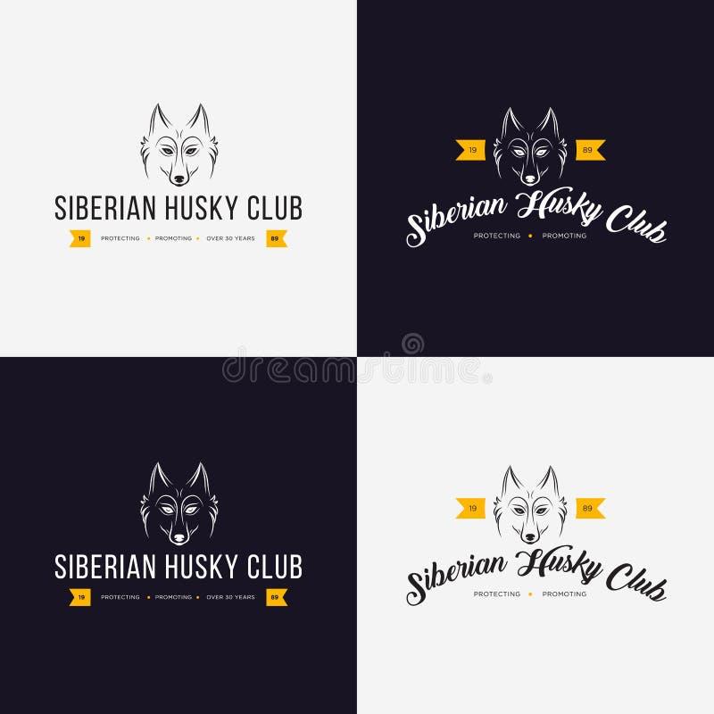 Schor hoofd vlakke embleemreeks Reeks uitstekende embleem en logotype elementen voor dierenwinkel, huisdierenhuis, huisdier en ex vector illustratie