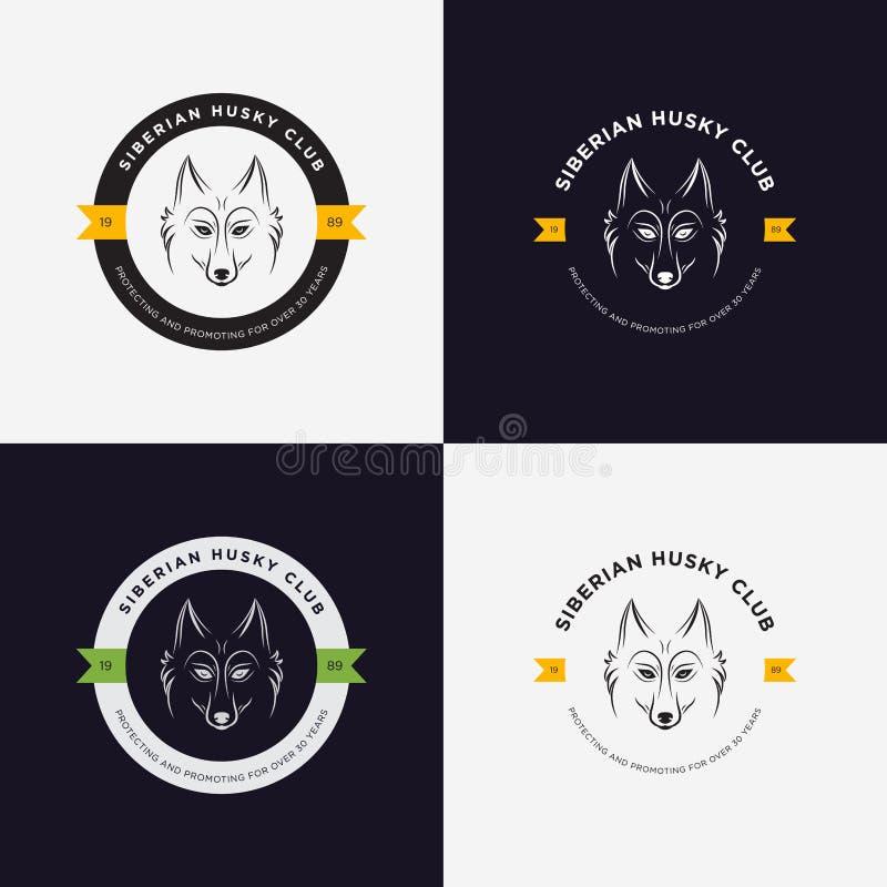 Schor hoofd vlakke embleemreeks Reeks uitstekende embleem en logotype elementen voor dierenwinkel, huisdierenhuis, huisdier en ex stock illustratie