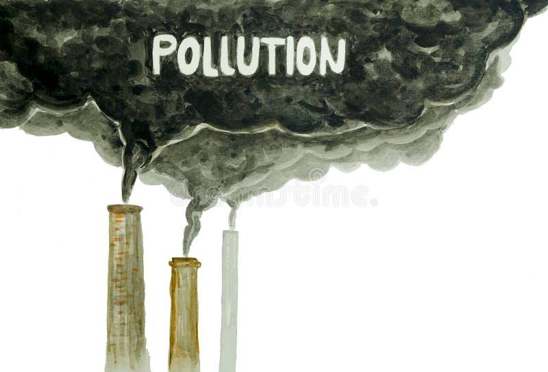 Schornsteine, die den Kohlenstoff macht Luftverschmutzung ausstrahlen stockfotografie