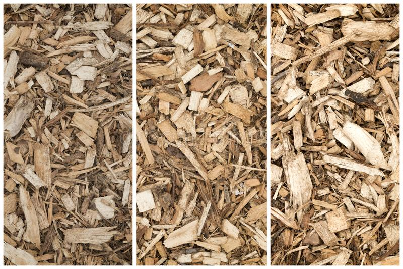 Schors Houten Chips Collage For Landscaping - Hoogste Weergeven - Abstracte Achtergrond royalty-vrije stock afbeeldingen