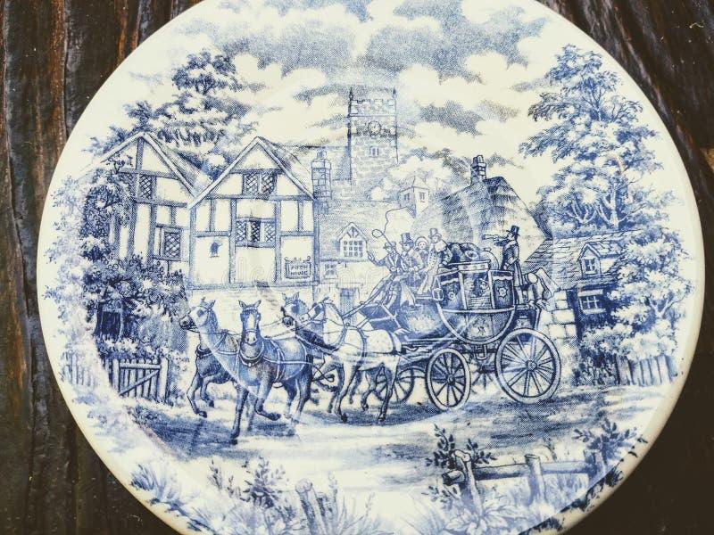 Schotel met oude illustratie royalty-vrije stock foto's