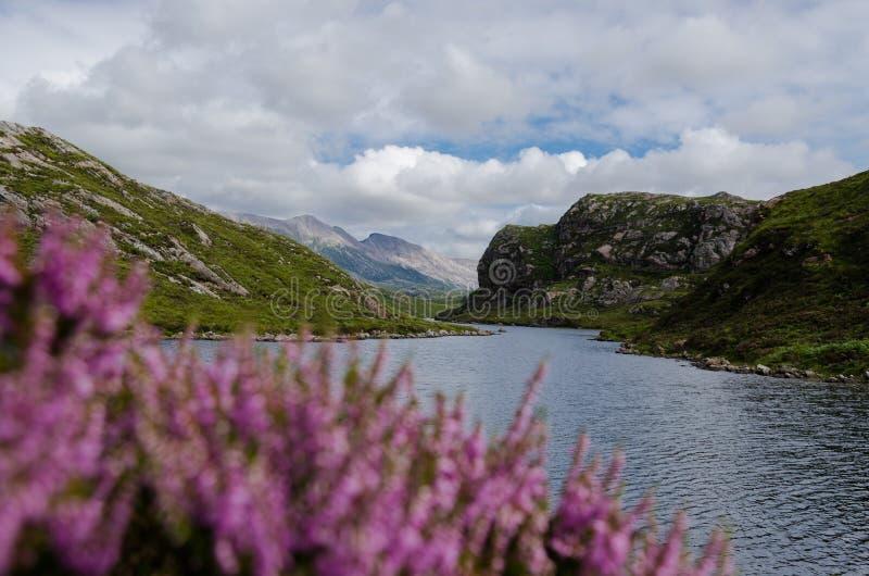 Schots meer (loch) in berglandschap stock foto
