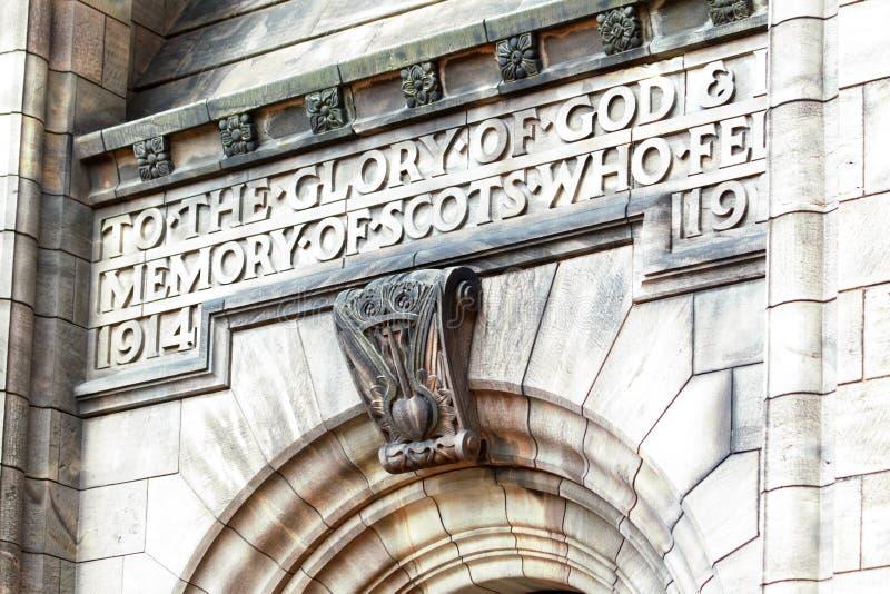 Schots Nationaal Oorlogsgedenkteken in het Kasteel van Edinburgh, Schotland royalty-vrije stock foto