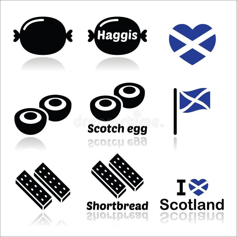 Schots voedsel - Haggis, Schots ei, geplaatste Zandkoekpictogrammen stock illustratie