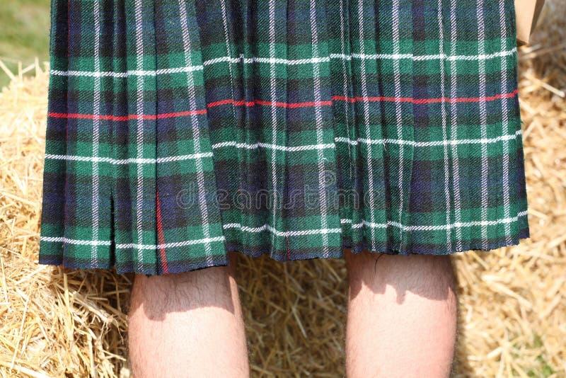 Schotse groene kilt stock foto's