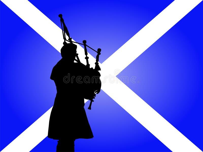 Schotse mens het spelen doedelzakken royalty-vrije illustratie