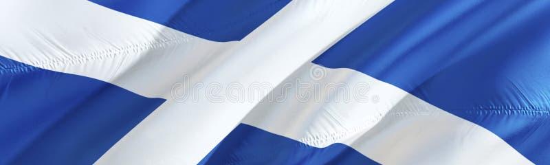 Schotse vlag Vlag van Schotland 3D het Golven vlagontwerp, het 3D teruggeven Het nationale symbool van van Achtergrond Schotland  stock afbeelding