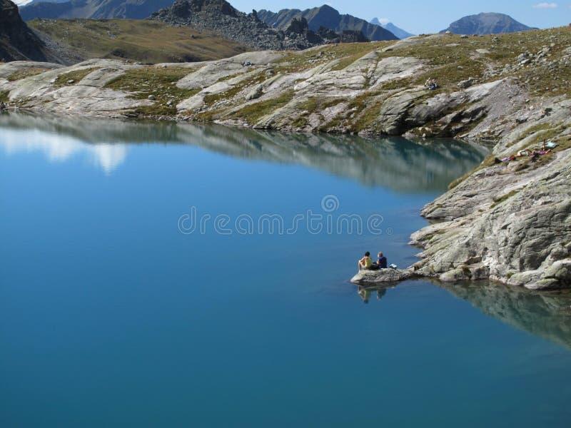 Schottensee的基于,5湖远足,在Schottensee的CHRest,5湖远足,CH 免版税库存图片