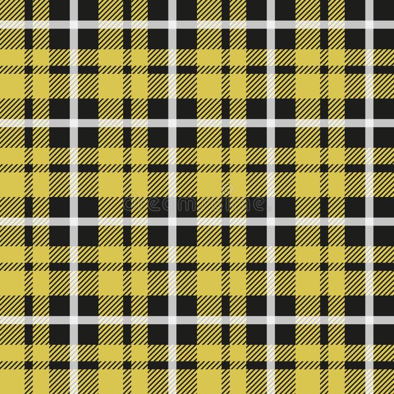 Schottenstoffmuster Schottischer Käfig Schottischer gelber karierter Hintergrund Schottisches Plaid in den gelben Farben Kleingew stock abbildung
